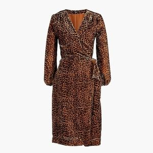 J. Crew Velvet Wrap dress in Leopard